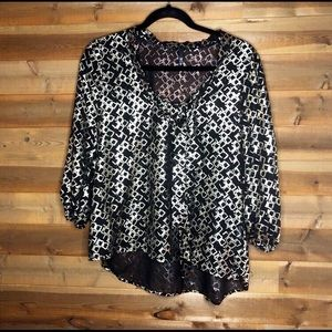 Love Culture Black & Gold Sheer Blouse With Tie